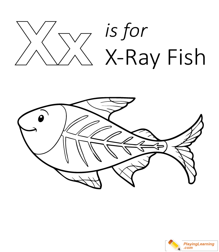 X is for xray fish coloring page for kids