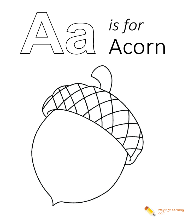 A Is For Acorn Coloring Page 01 Free A Is For Acorn Coloring Page