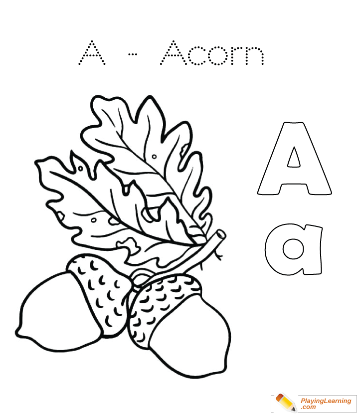 A Is For Acorn Coloring Page 02 Free A Is For Acorn Coloring Page