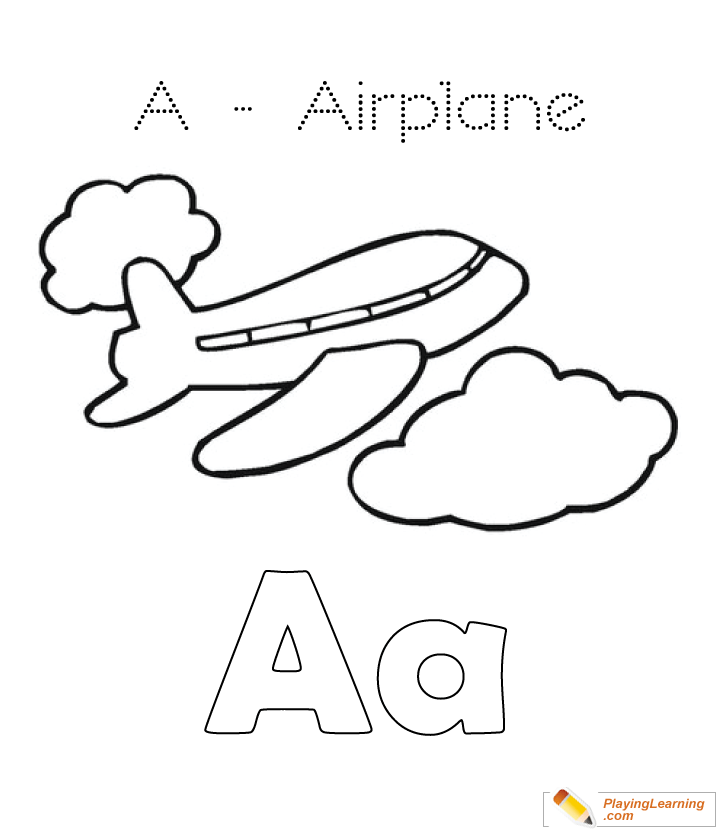 A Is For Airplane Coloring Page 03 Free A Is For Airplane Coloring Page