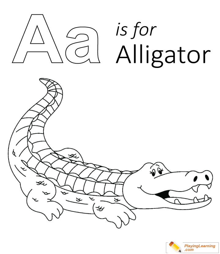 A Is For Alligator Coloring Page | Free A Is For Alligator Coloring Page