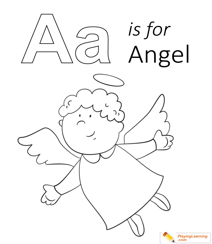 a is for angel coloring page for kids