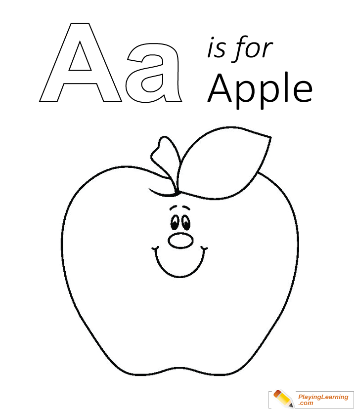 A Is For Apple Coloring Page 02 Free A Is For Apple