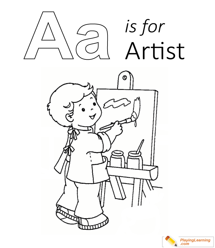 A Is For Artist Coloring Page 01 | Free A Is For Artist Coloring Page