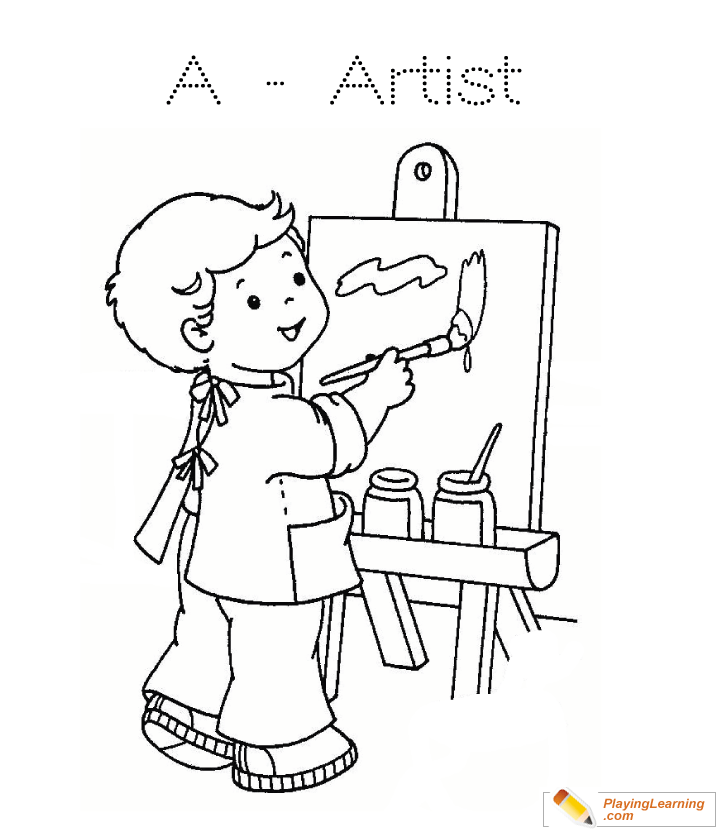A Is For Artist Coloring Page 02 Free A Is For Artist Coloring Page