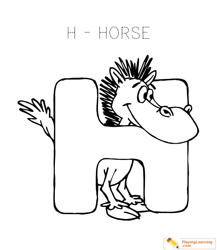 alphabet coloring letter h coloring page for kids