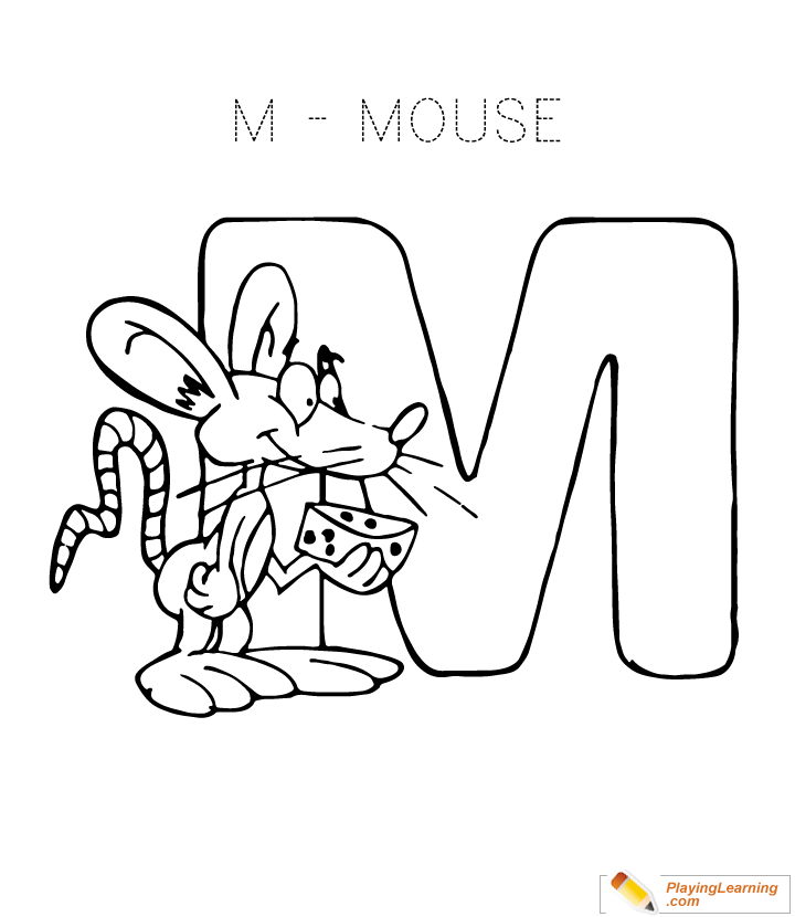 Free Letter M Coloring Pages For Preschool Trace The