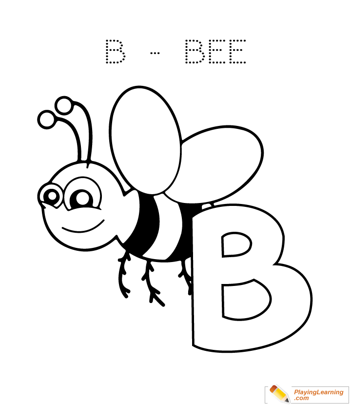 alphabet easy coloring b is for bee for kids