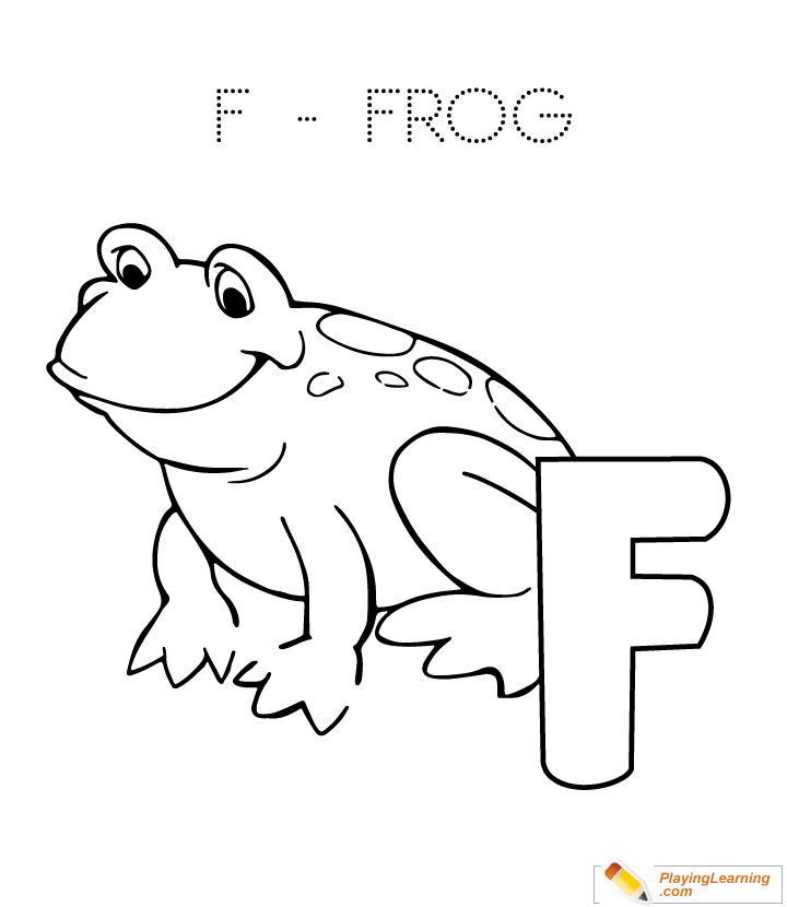 alphabet easy coloring f is for frog for kids