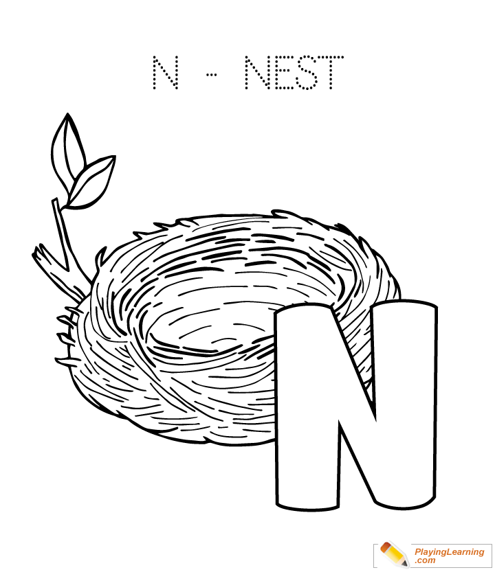 alphabet easy coloring n is for nest free alphabet easy coloring n is for nest. Black Bedroom Furniture Sets. Home Design Ideas