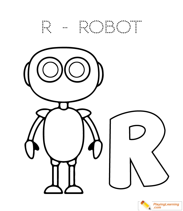 alphabet easy coloring r is for robot for kids