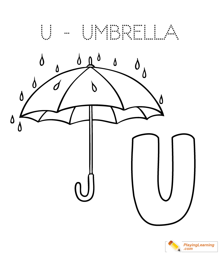 Alphabet Easy Coloring U Is For Umbrella Kids