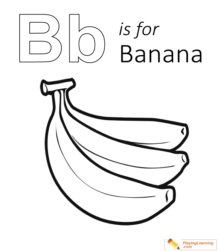 B Is For Banana Coloring Page 01 Free B Is For Banana Coloring Page