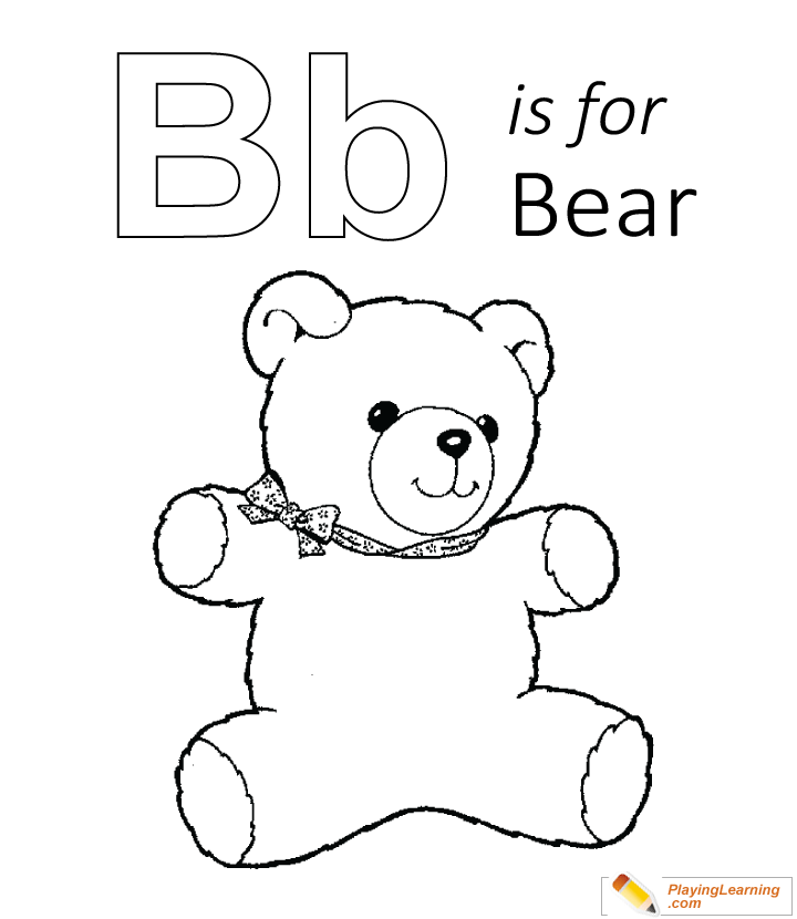 B is for bear coloring page for kids