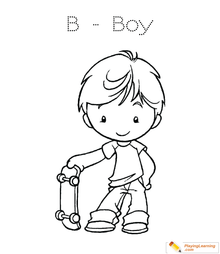 B Is For Boy Coloring Page 02 Free B Is For Boy Coloring Page