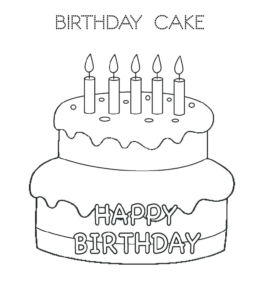 Birthday Cake Coloring Page 1 For Kids