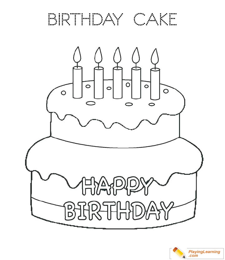 Awe Inspiring Birthday Cake Coloring Page 01 Free Birthday Cake Coloring Page Funny Birthday Cards Online Overcheapnameinfo