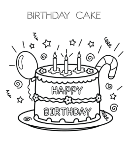 Birthday Cake Coloring Page 12 For Kids