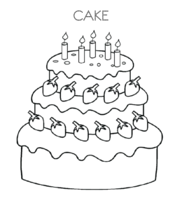 Birthday Cake Coloring Page 13 For Kids