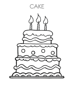 Cake and Birthday Cake Coloring Pages | Playing Learning