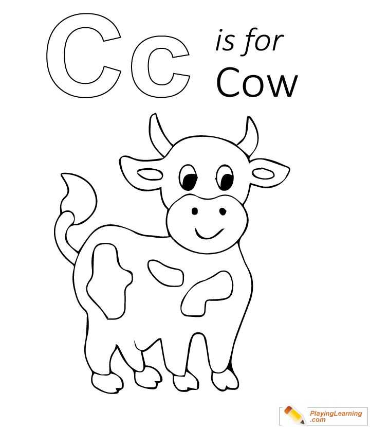C Is For Cow Coloring Page 01 Free