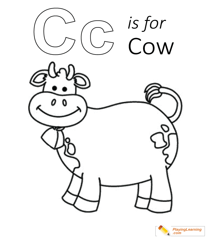 C Is For Cow Coloring Page 04 Free