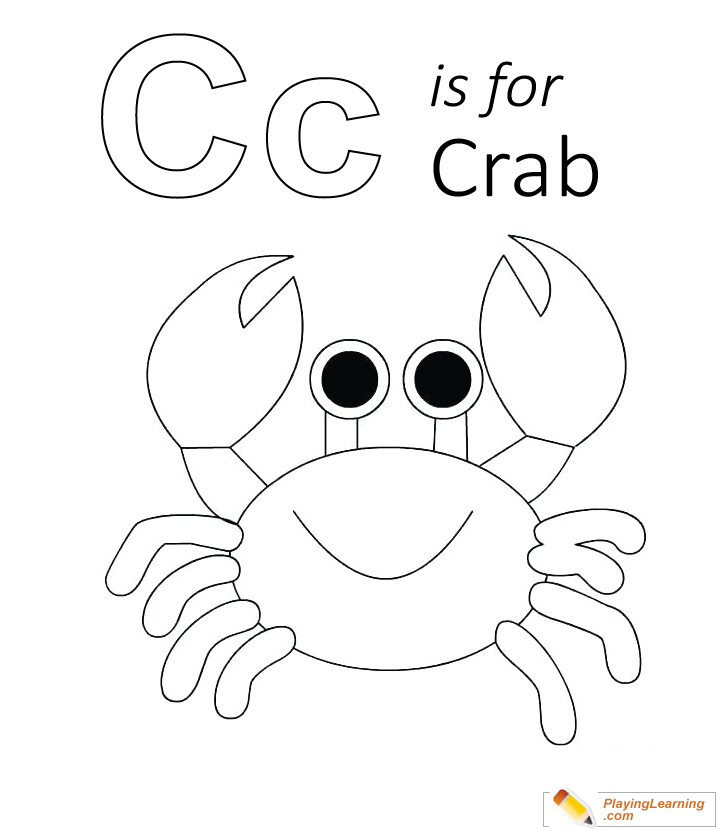 C Is For Crab Coloring Page 02 Free C Is For Crab Coloring Page