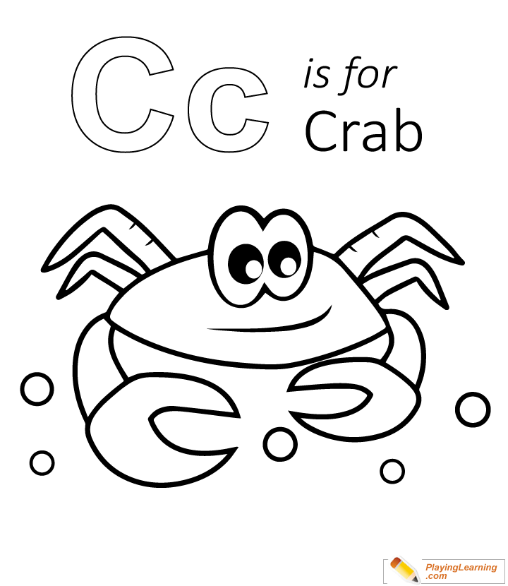 C Is For Crab Coloring Page 03 Free C Is For Crab Coloring Page