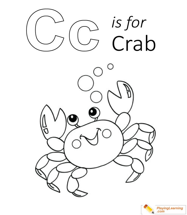 C Is For Crab Coloring Page 04 Free C Is For Crab Coloring Page