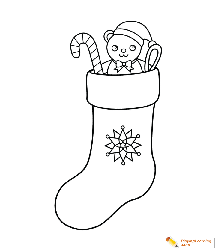 christmas stocking coloring page for kids