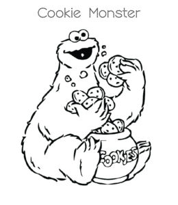 Sesame Street Cookie Monster Coloring Page 1 For Kids