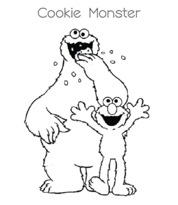 Cookie Monster Coloring Pages Playing Learning