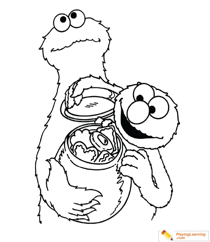 Cookie Monster Coloring Page 08 | Free Cookie Monster Coloring Page