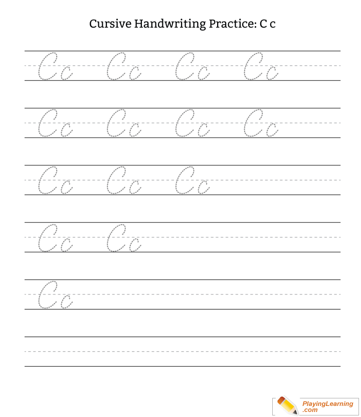 cursive handwriting practice letter c  free cursive