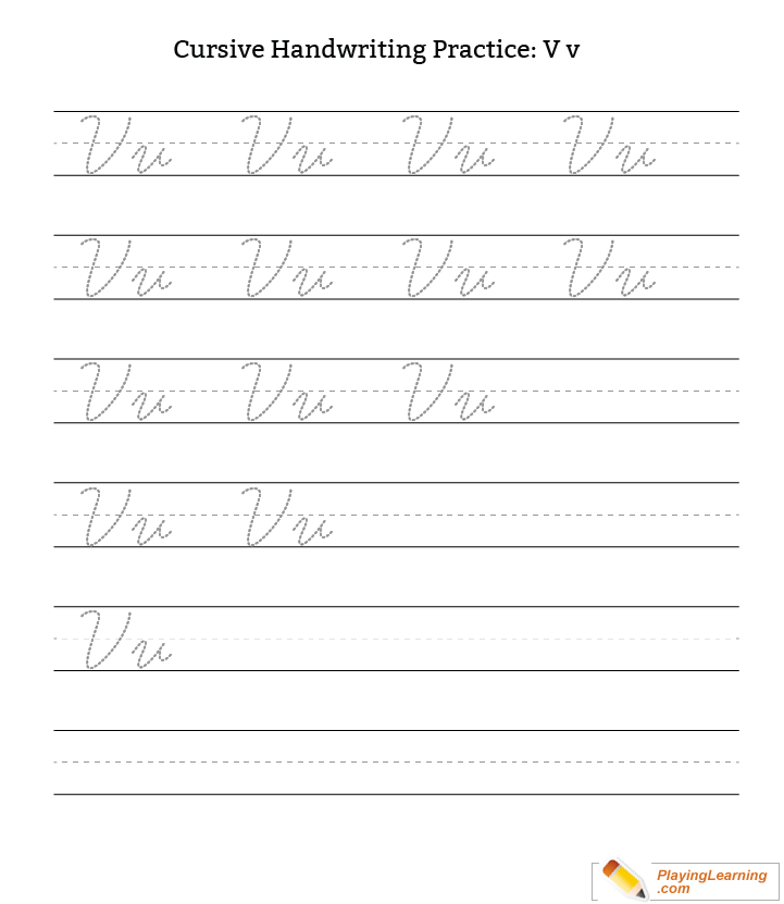 Cursive Handwriting Practice Letter V Free Cursive Handwriting Practice Letter V Words starting with an v. cursive handwriting practice letter v