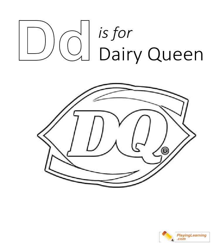 D Is For Dairy Queen Coloring Page Free D Is For Dairy Queen Coloring Page