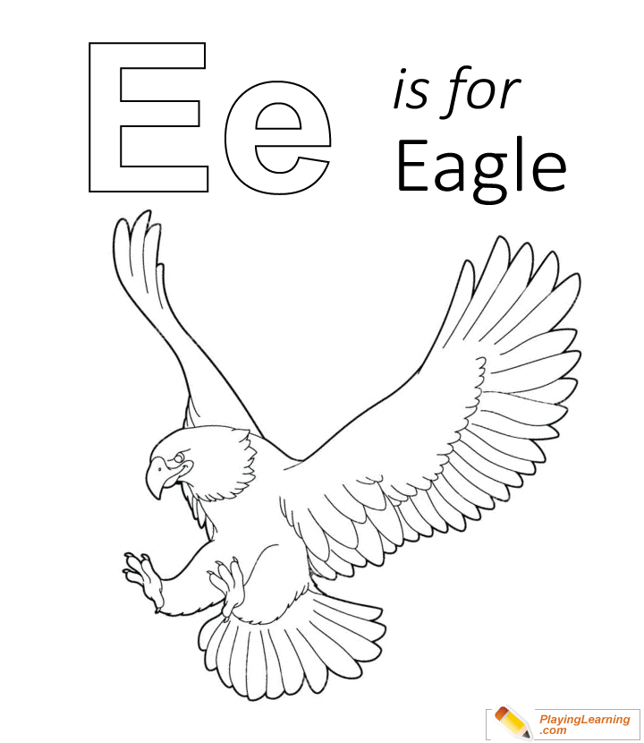 E Is For Eagle Coloring Page for Kids