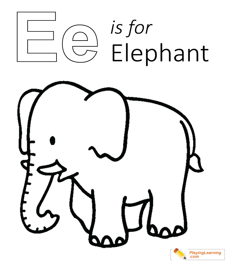 E Is For Elephant Coloring Page 05 Free E Is For Elephant Coloring Page