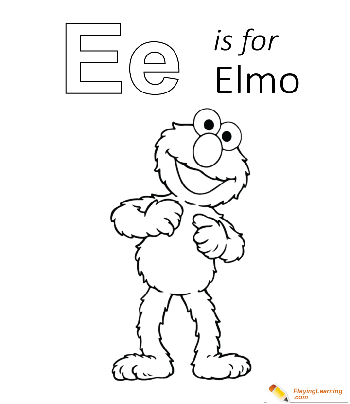 E Is For Elmo Coloring Page 02 Free E Is For Elmo Coloring