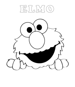 Easy Elmo Coloring Page 2 For Kids