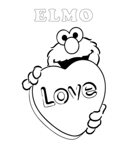 Easy Elmo Coloring Page 4 For Kids