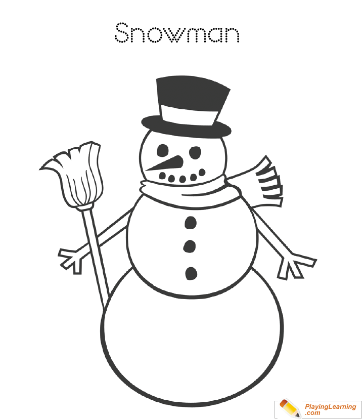 Easy Snowman Coloring Page 18 Free Easy Snowman Coloring Page