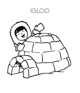 Eskimo And Igloo Coloring Pages Playing Learning