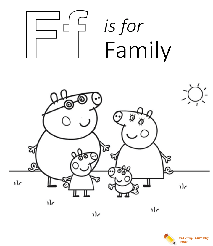 F Is For Family Coloring Page 01 Free F Is For Family Coloring Page