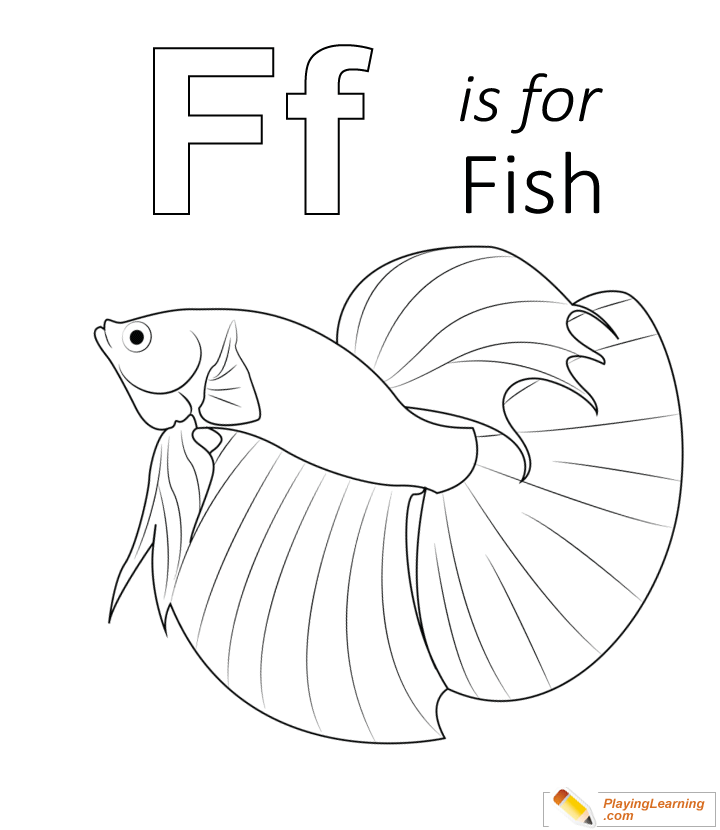 F Is For Fish Coloring Page Kids