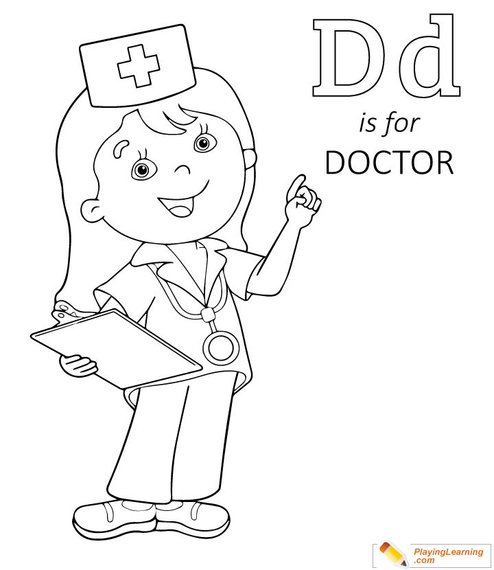 Flu Season D Is For Doctor Coloring Page 03 Free Flu Season D Is For Doctor Coloring Page