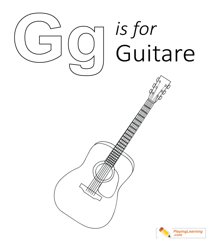 G Is For Guitare Coloring Page Kids