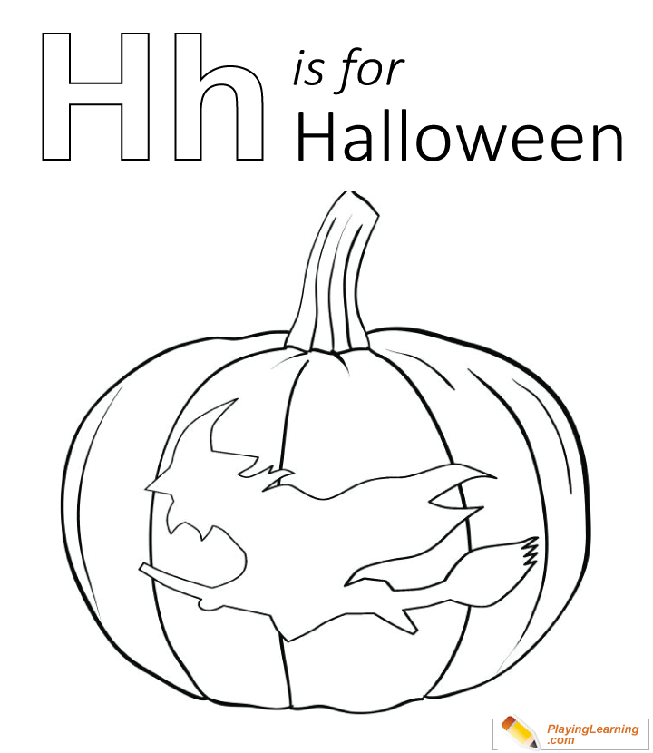 H Is For Halloween Coloring Page 01 Free H Is For Halloween Coloring Page