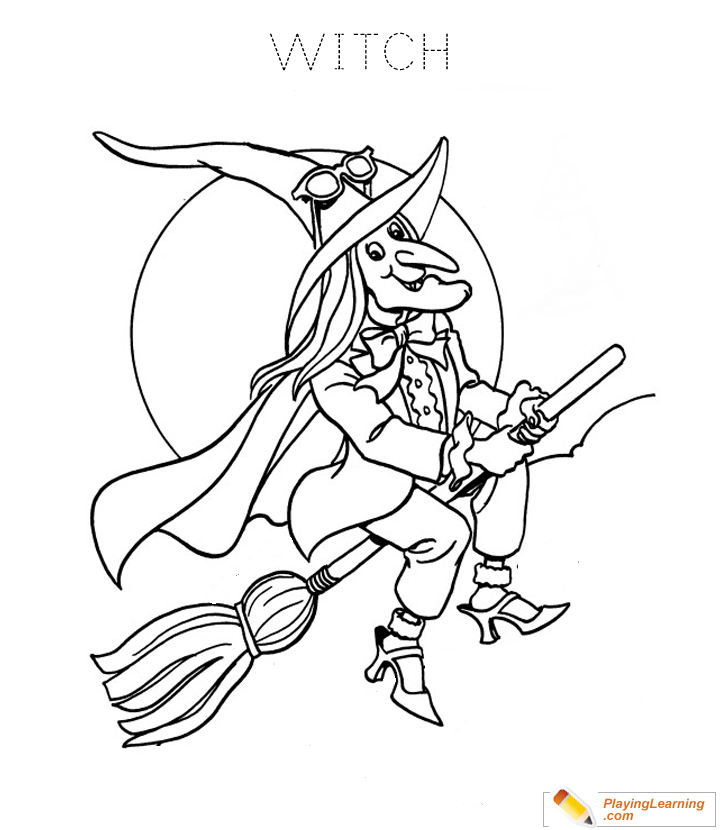 Halloween Witch Coloring Page 02 Free Halloween Witch