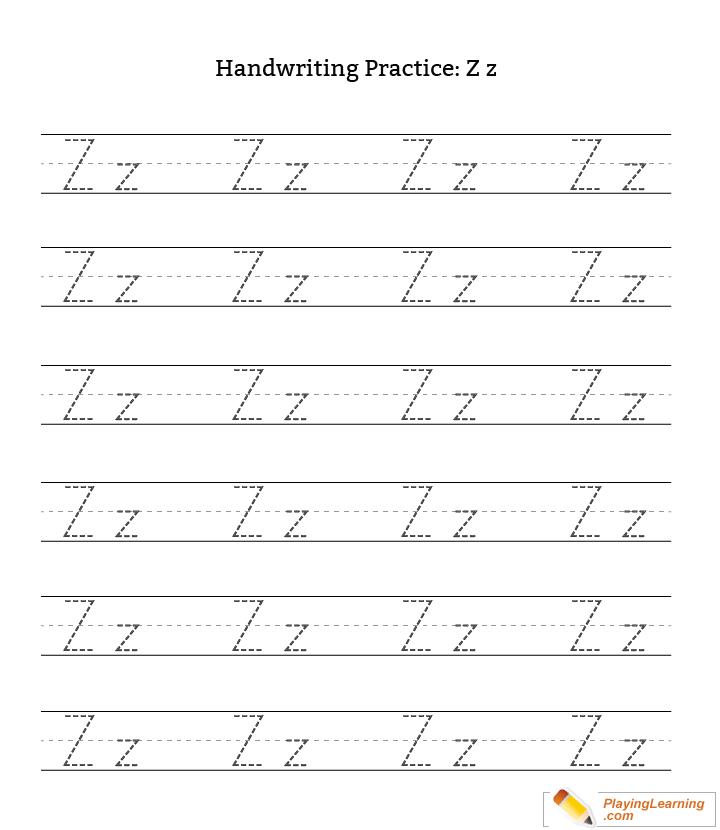 Handwriting Practice Letter Z   Free Handwriting Practice ...